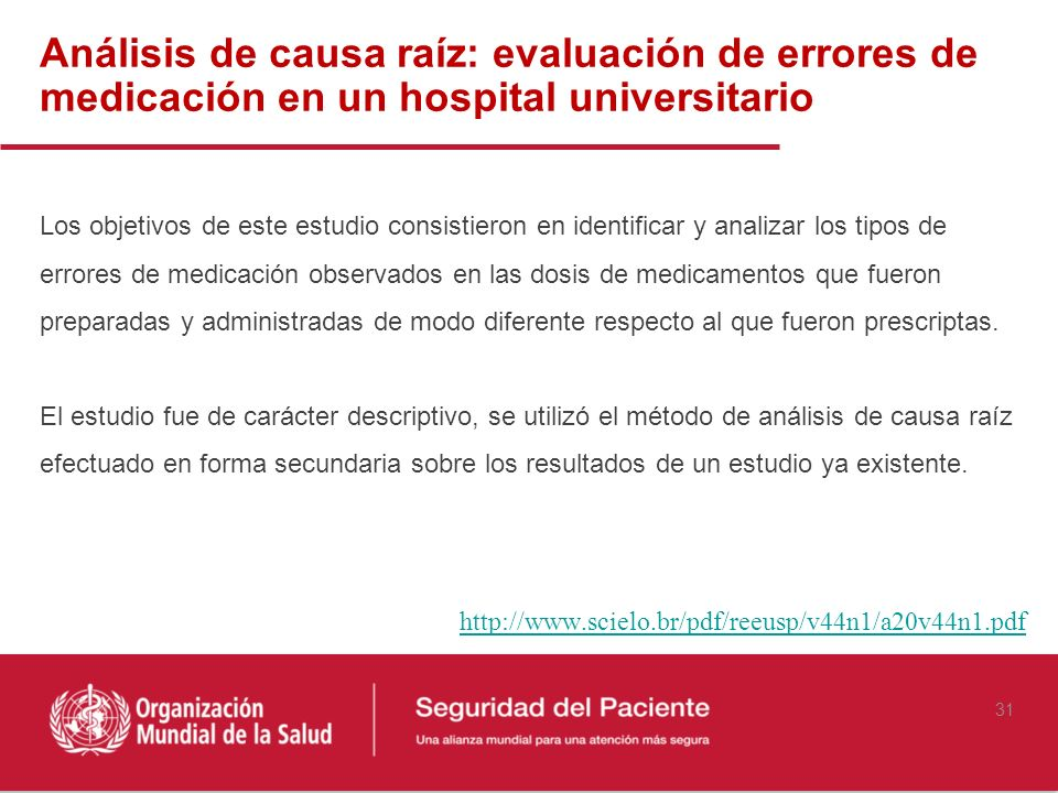 Análisis de causa raíz: evaluación de errores de medicación en un hospital universitario