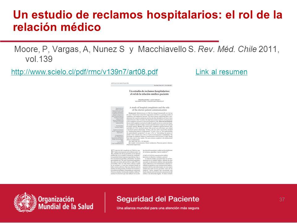 Un estudio de reclamos hospitalarios: el rol de la relación médico