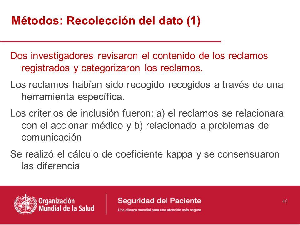 Métodos: Recolección del dato (1)