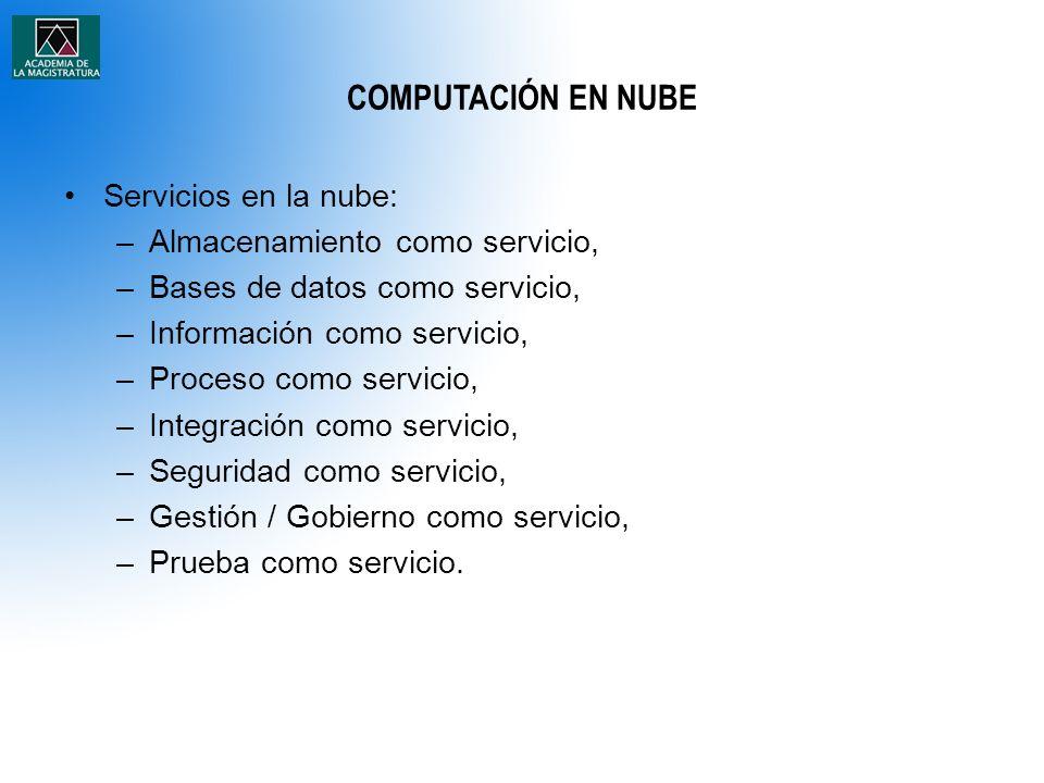 COMPUTACIÓN EN NUBE Servicios en la nube: