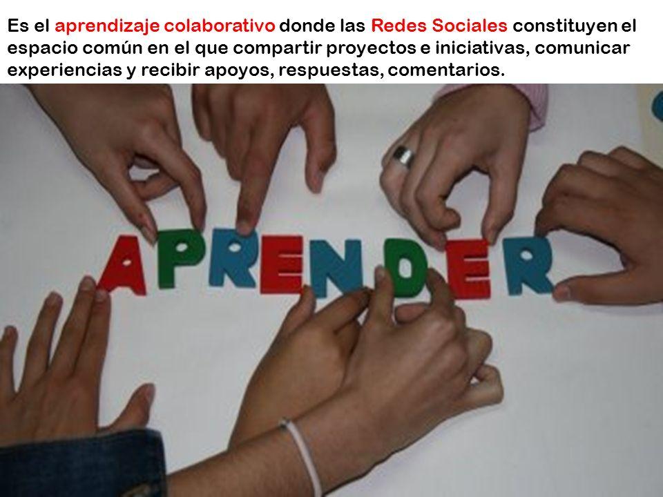 Es el aprendizaje colaborativo donde las Redes Sociales constituyen el espacio común en el que compartir proyectos e iniciativas, comunicar experiencias y recibir apoyos, respuestas, comentarios.