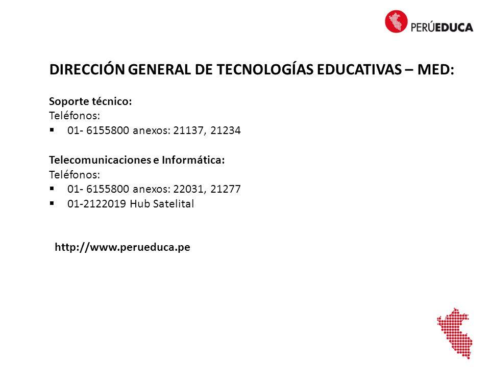 DIRECCIÓN GENERAL DE TECNOLOGÍAS EDUCATIVAS – MED: