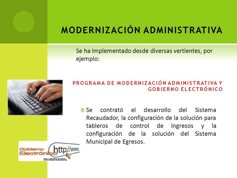 MODERNIZACIÓN ADMINISTRATIVA PROGRAMA DE MODERNIZACIÓN ADMINISTRATIVA Y GOBIERNO ELECTRÓNICO