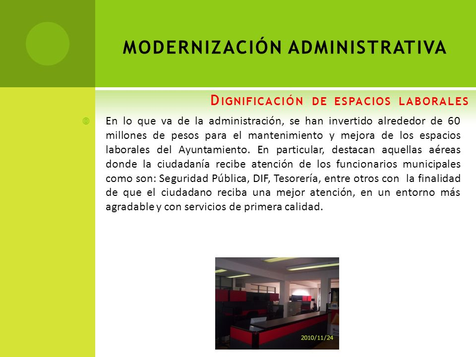 Dignificación de espacios laborales