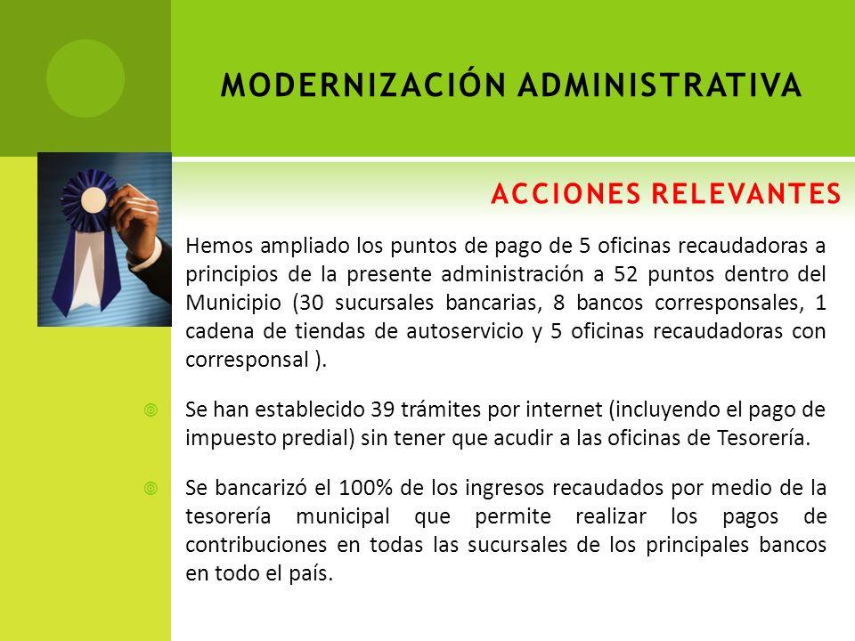 ACCIONES RELEVANTES MODERNIZACIÓN ADMINISTRATIVA