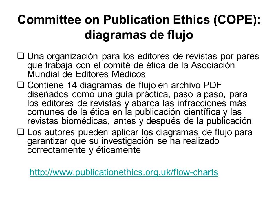 Committee on Publication Ethics (COPE): diagramas de flujo