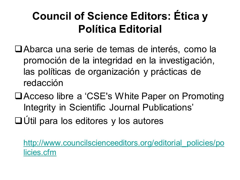 Council of Science Editors: Ética y Política Editorial