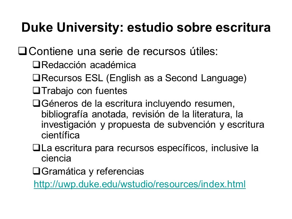 Duke University: estudio sobre escritura