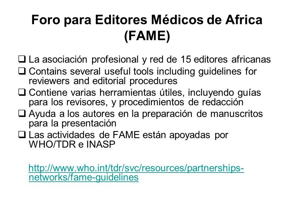 Foro para Editores Médicos de Africa (FAME)