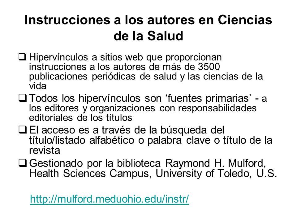 Instrucciones a los autores en Ciencias de la Salud