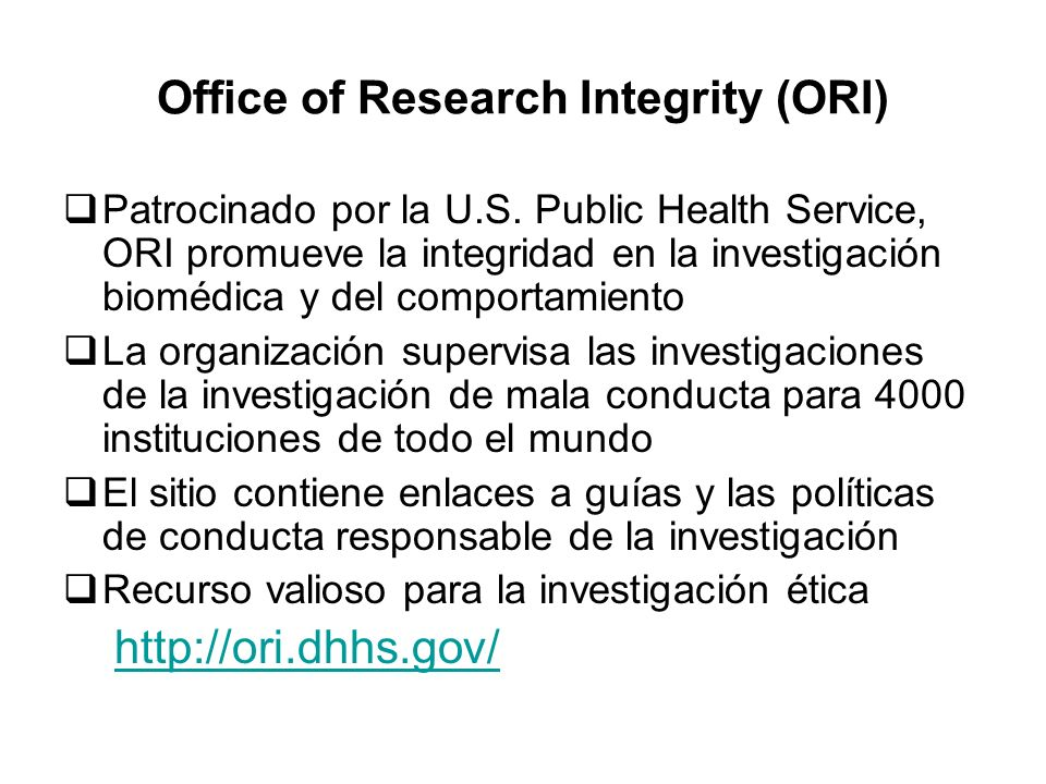 Office of Research Integrity (ORI)
