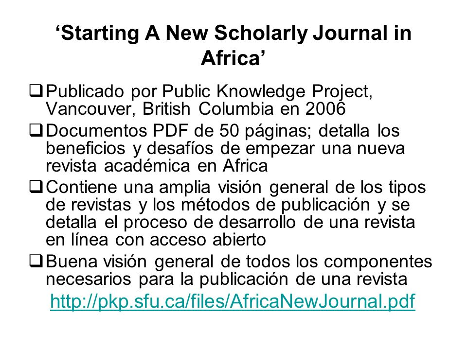 'Starting A New Scholarly Journal in Africa'