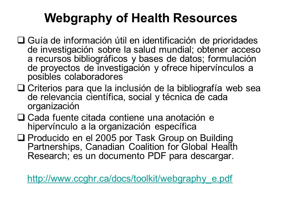 Webgraphy of Health Resources