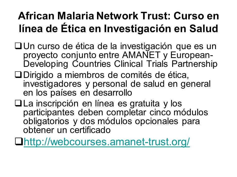 African Malaria Network Trust: Curso en línea de Ética en Investigación en Salud