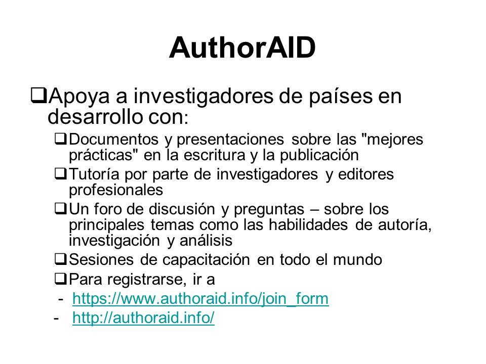 AuthorAID Apoya a investigadores de países en desarrollo con: