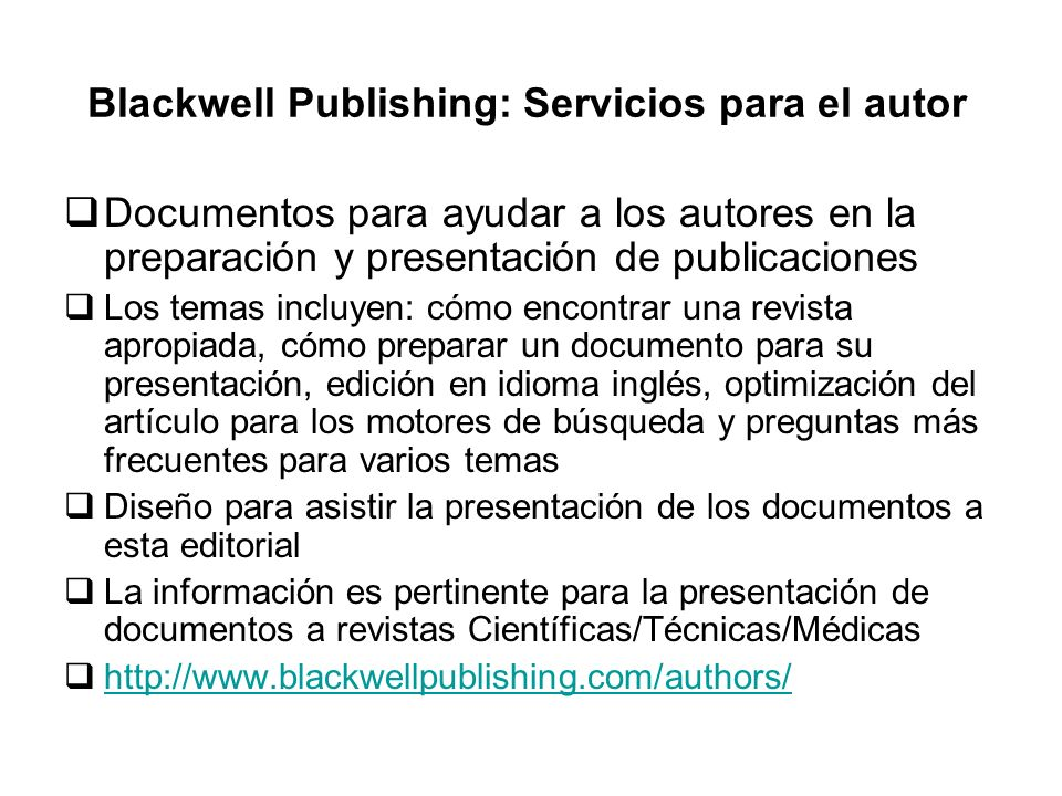 Blackwell Publishing: Servicios para el autor