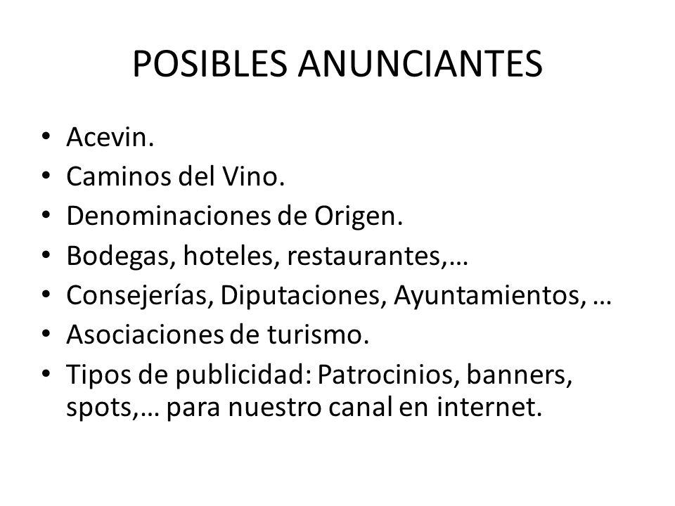 POSIBLES ANUNCIANTES Acevin. Caminos del Vino.