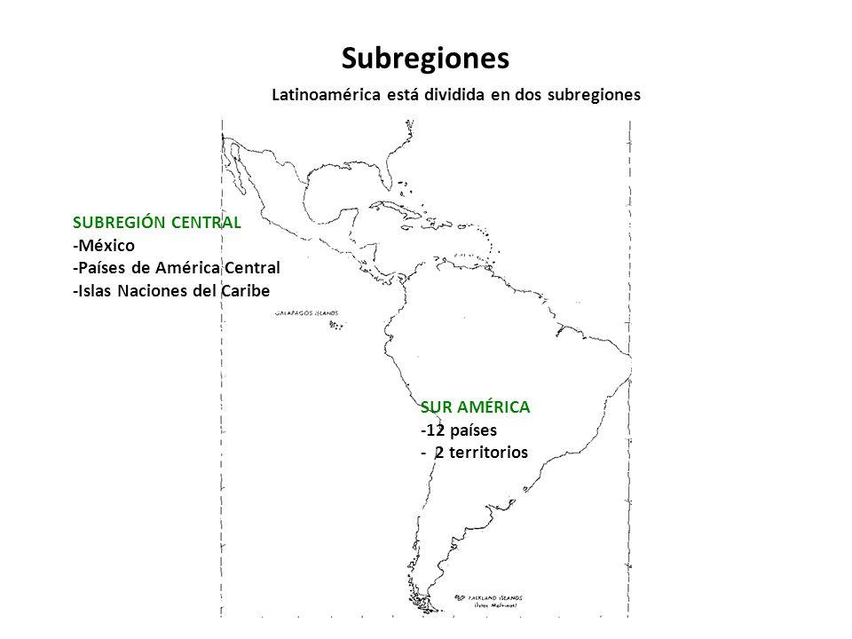 Subregiones Latinoamérica está dividida en dos subregiones