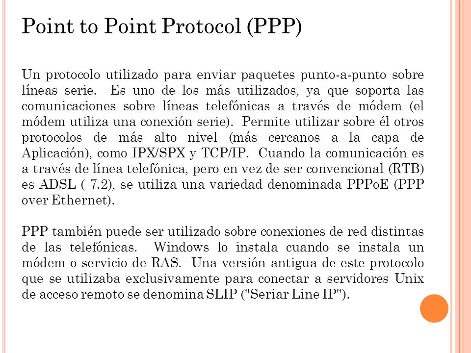 Point to Point Protocol (PPP)