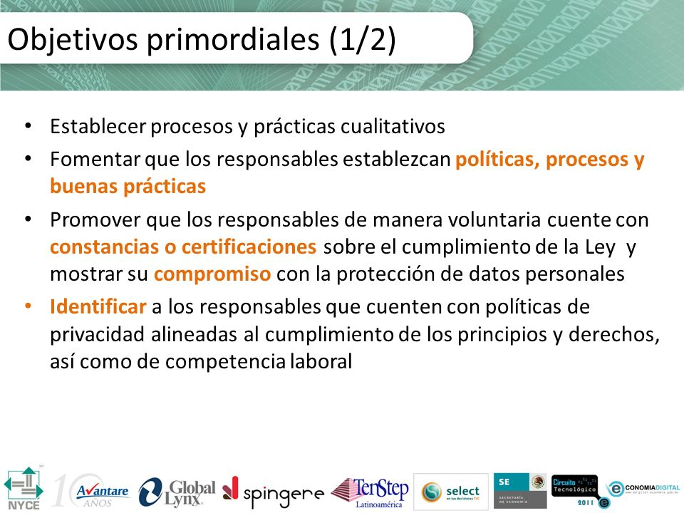Objetivos primordiales (1/2)