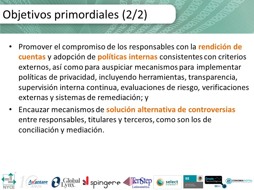 Objetivos primordiales (2/2)