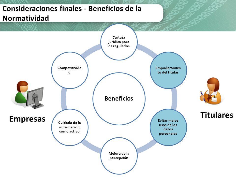 Consideraciones finales - Beneficios de la Normatividad