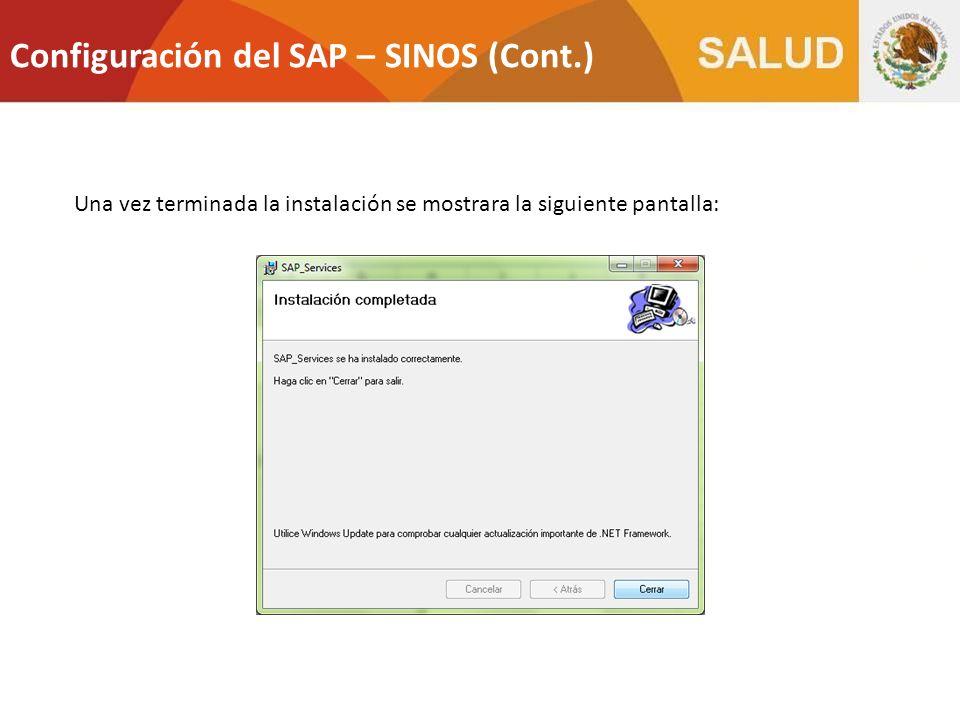 Configuración del SAP – SINOS (Cont.)