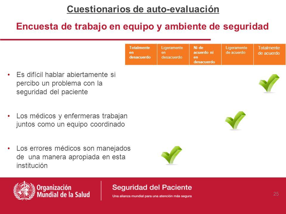 Cuestionarios de auto-evaluación Encuesta de trabajo en equipo y ambiente de seguridad