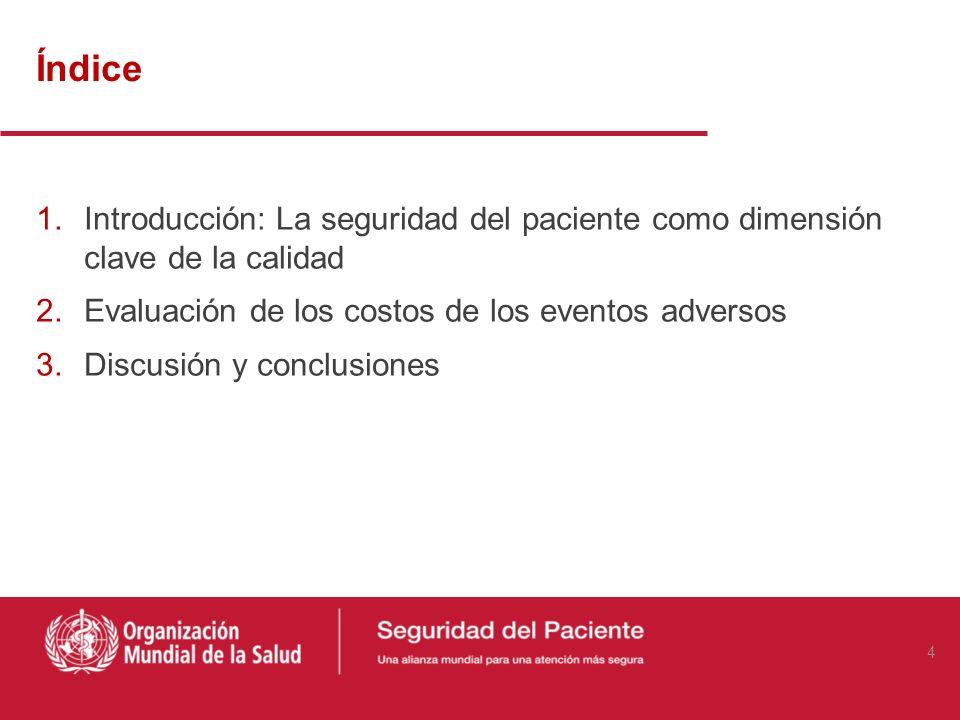 Índice Introducción: La seguridad del paciente como dimensión clave de la calidad. Evaluación de los costos de los eventos adversos.