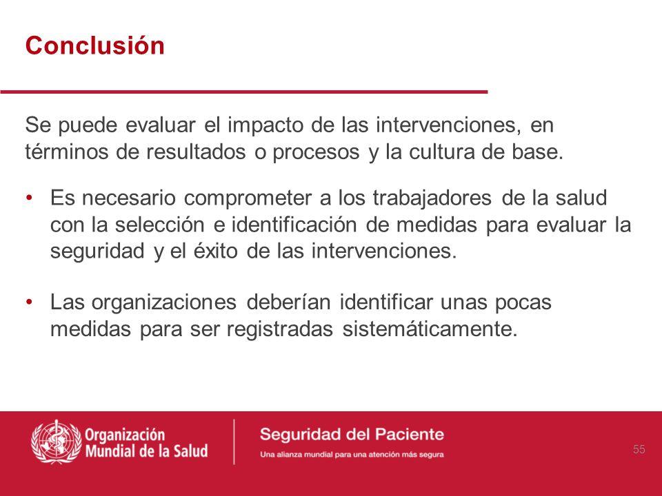 ConclusiónSe puede evaluar el impacto de las intervenciones, en términos de resultados o procesos y la cultura de base.