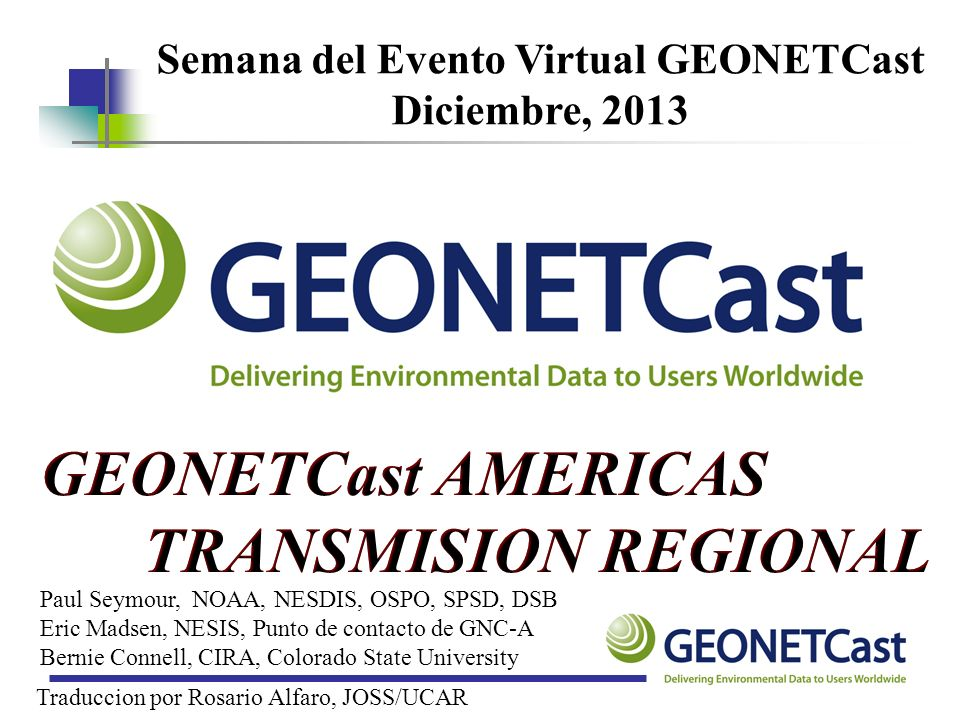 Semana del Evento Virtual GEONETCast