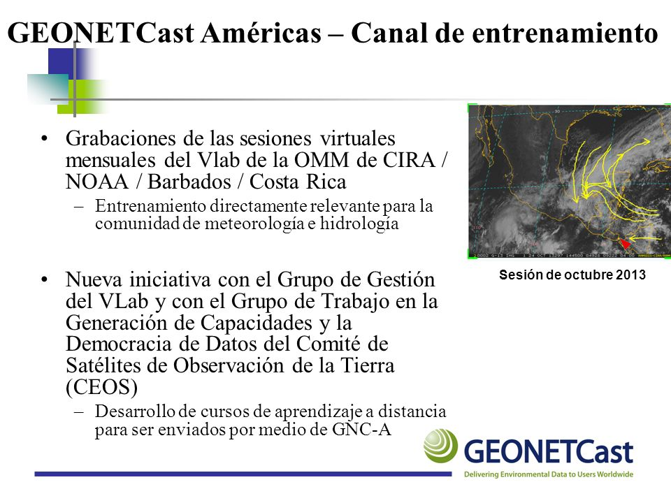 GEONETCast Américas – Canal de entrenamiento