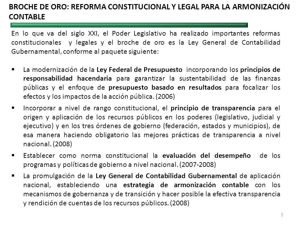BROCHE DE ORO: REFORMA CONSTITUCIONAL Y LEGAL PARA LA ARMONIZACIÓN CONTABLE