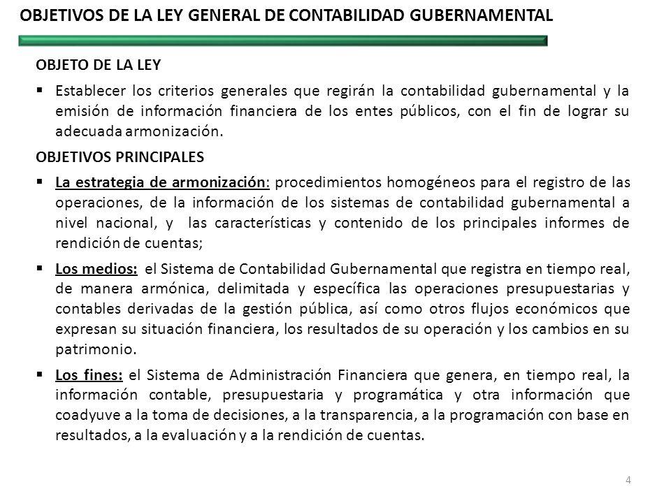 OBJETIVOS DE LA LEY GENERAL DE CONTABILIDAD GUBERNAMENTAL