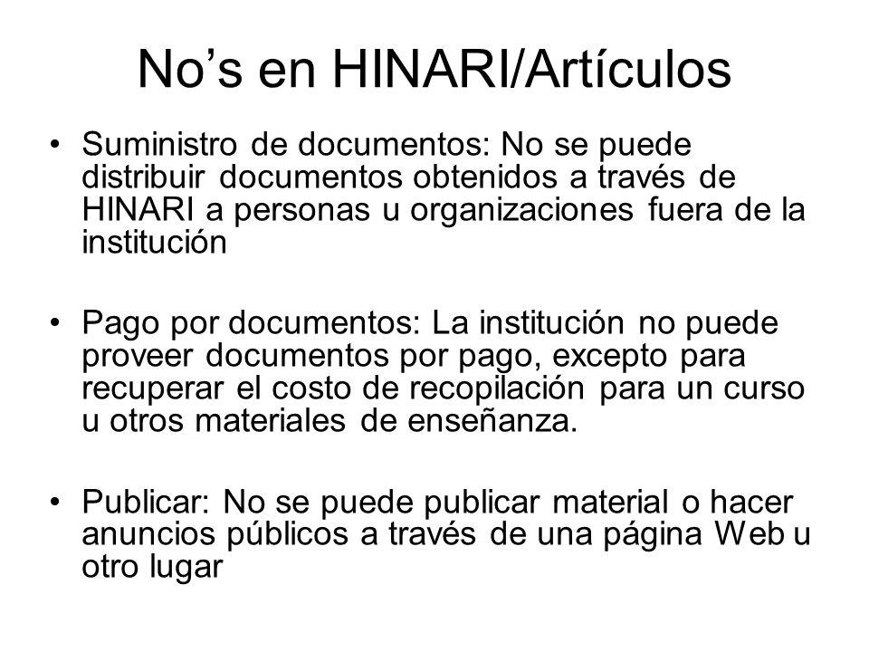 No's en HINARI/Artículos