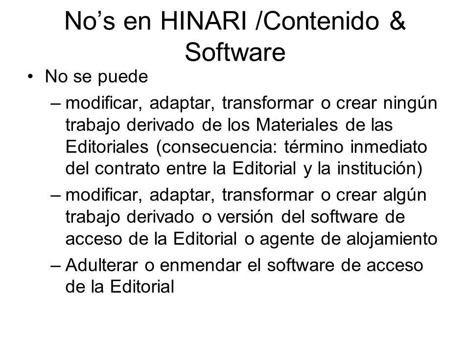 No's en HINARI /Contenido & Software