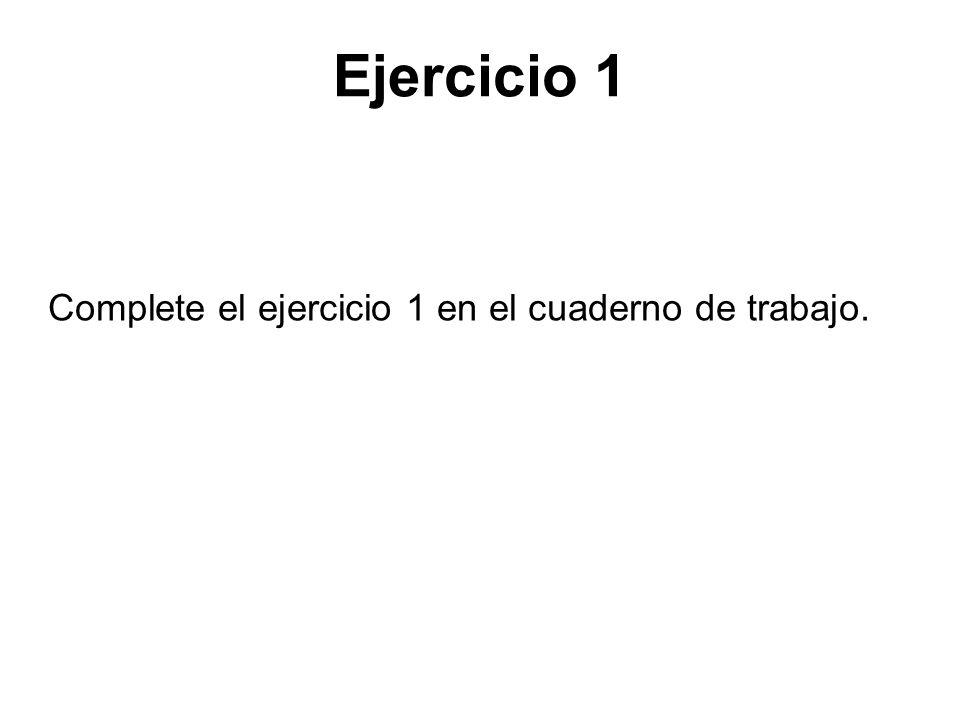 Ejercicio 1 Complete el ejercicio 1 en el cuaderno de trabajo.