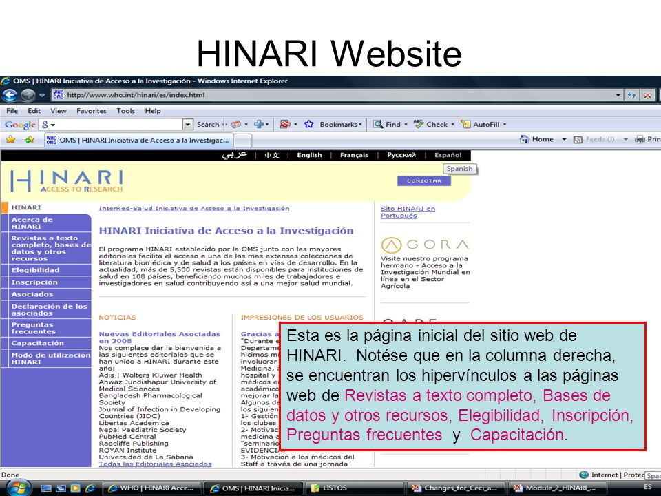 HINARI Website Welcome to the HINARI Homepage. This tutorial will look at how to use the HINARI website.