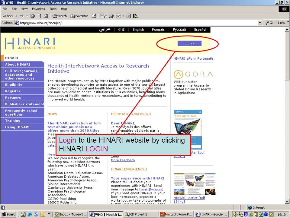 Logging in to HINARI 1Login to the HINARI website by clicking HINARI LOGIN.