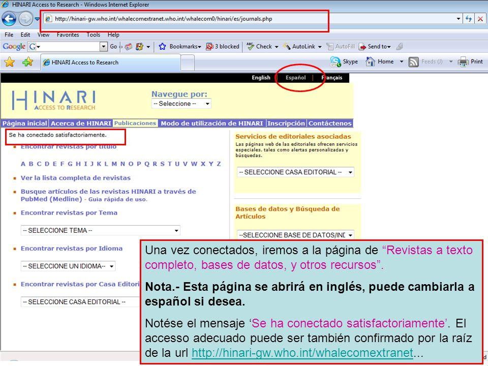 Nota.- Esta página se abrirá en inglés, puede cambiarla a español si desea.