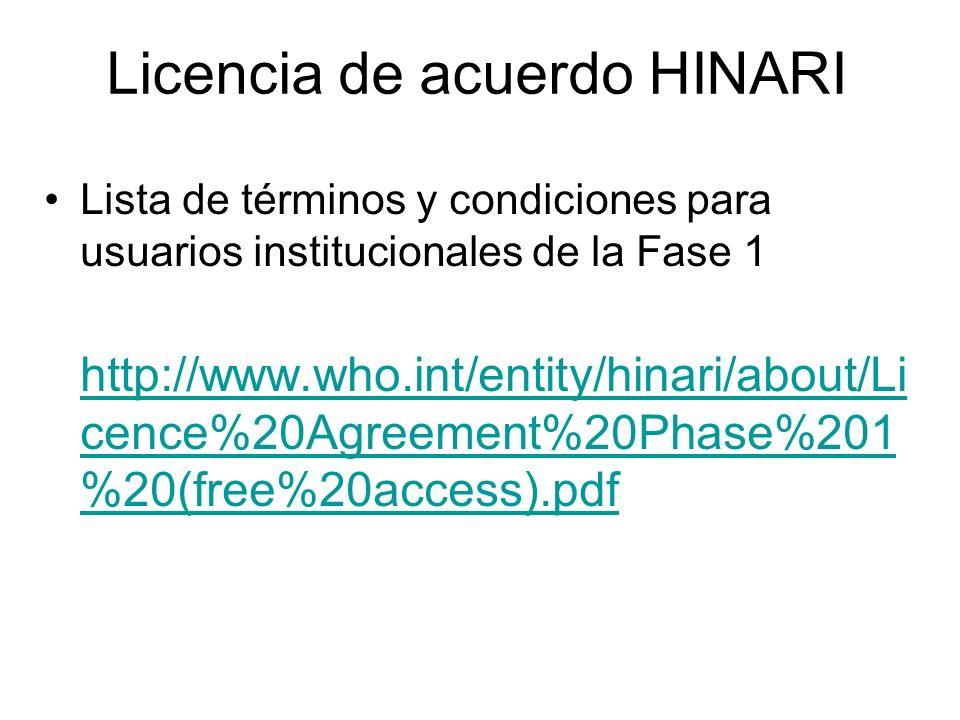 Licencia de acuerdo HINARI
