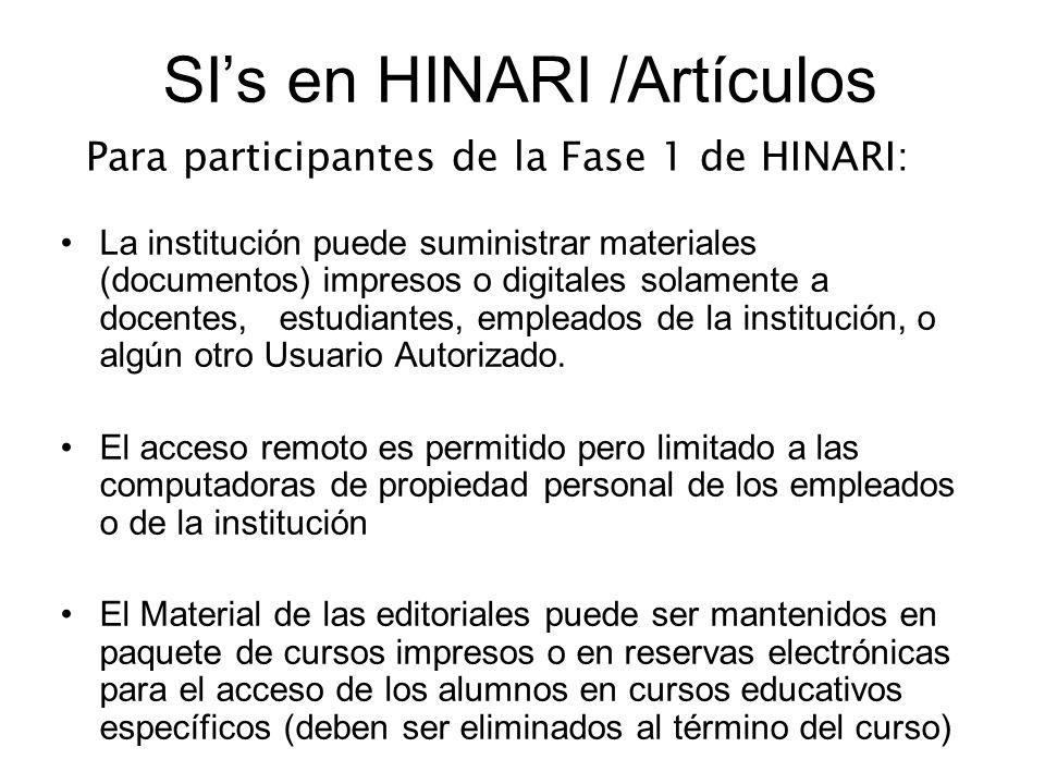 SI's en HINARI /Artículos