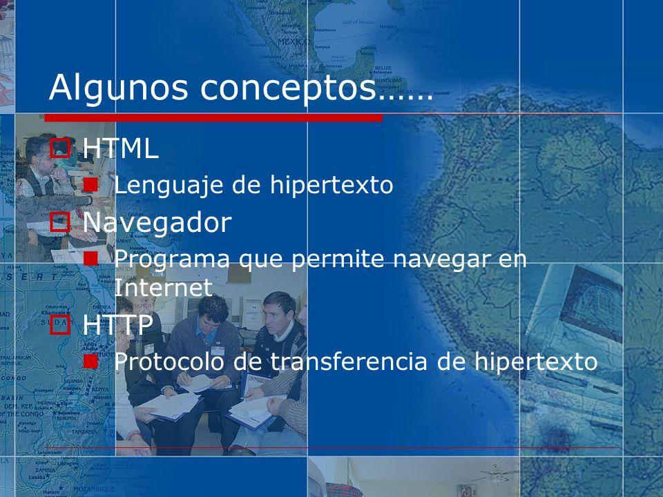 Algunos conceptos…… HTML Navegador HTTP Lenguaje de hipertexto