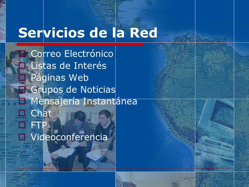 Servicios de la Red Correo Electrónico Listas de Interés Páginas Web