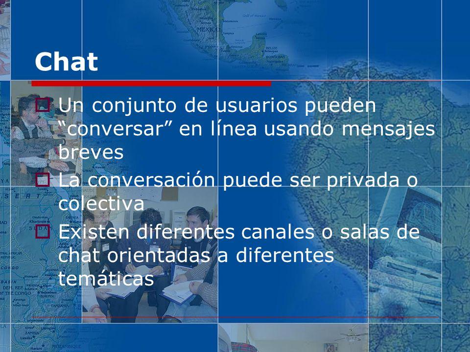 Chat Un conjunto de usuarios pueden conversar en línea usando mensajes breves. La conversación puede ser privada o colectiva.