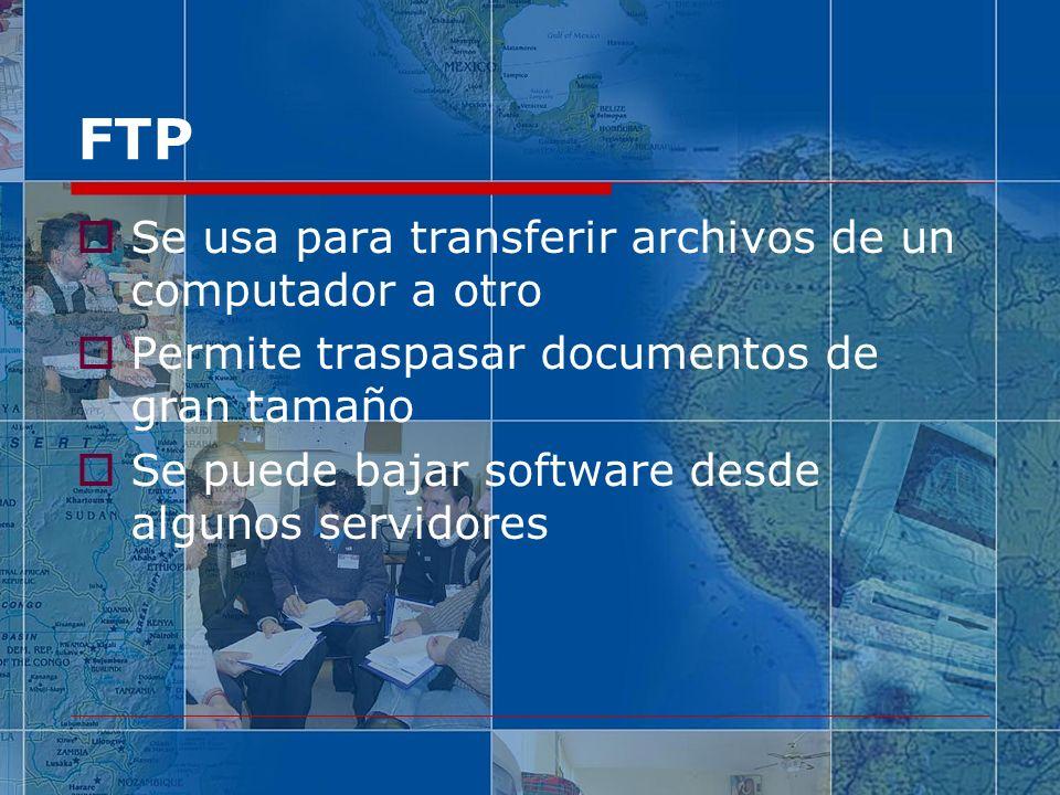 FTP Se usa para transferir archivos de un computador a otro