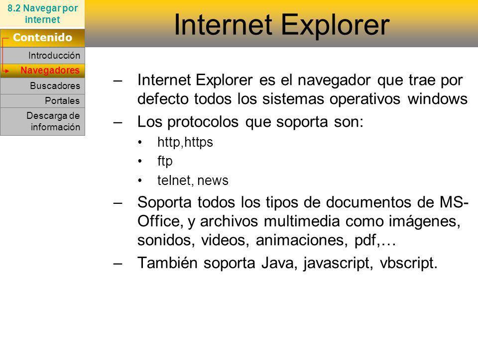 8.2 Navegar por internet Internet Explorer. Contenido. Introducción.