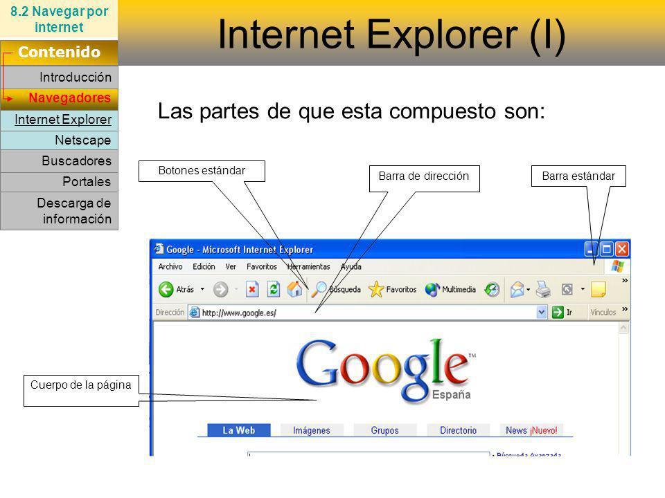 Internet Explorer (I) Las partes de que esta compuesto son: Contenido