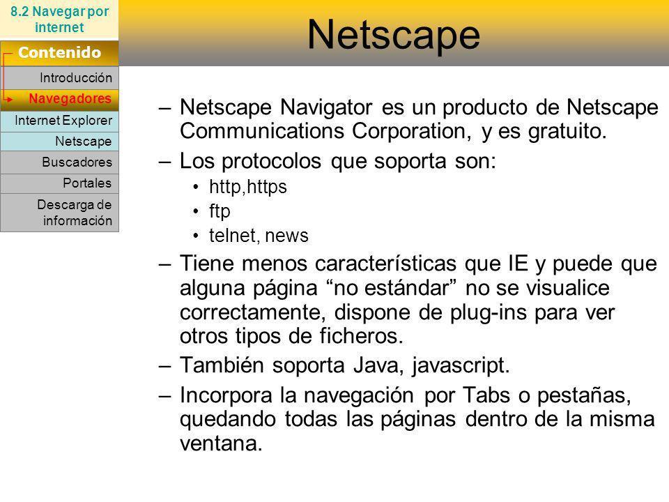 8.2 Navegar por internet Netscape. Contenido. Introducción.