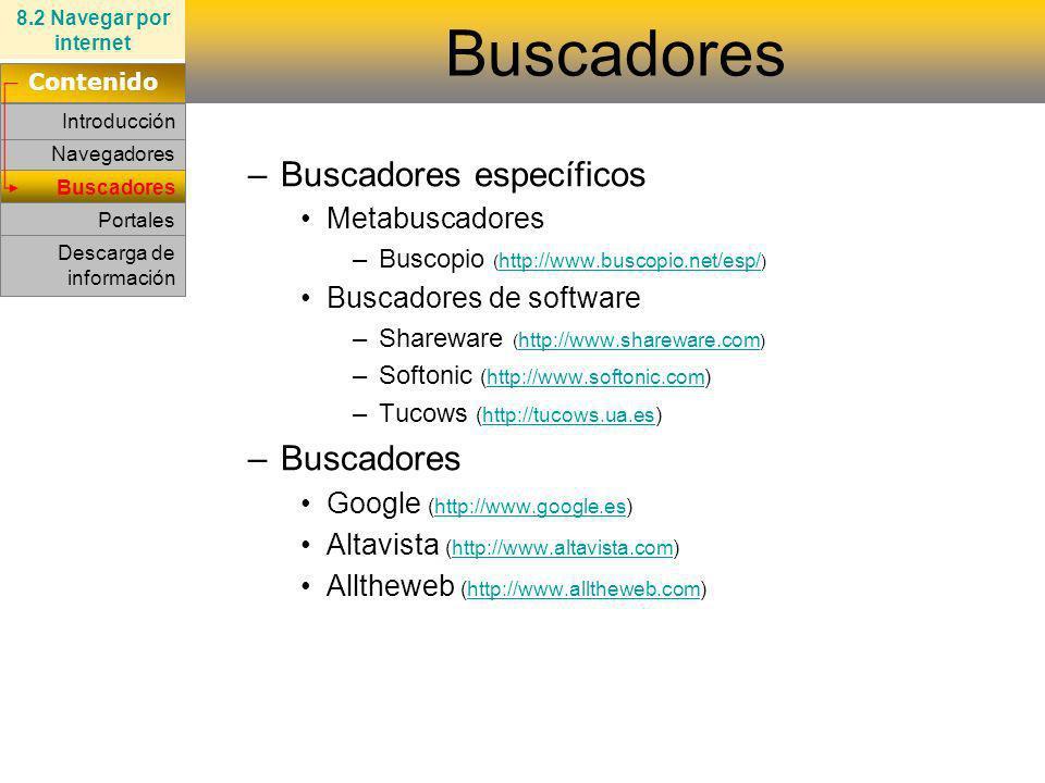 Buscadores Buscadores específicos Buscadores Metabuscadores